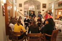 Kapnick moderates a small group discussion for a Princeton Women in Geoscience Event